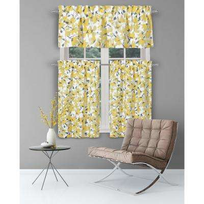Margery Grey-Yellow Kitchen Curtain Set - 58 in. W x 15 in. L in (3-Piece)