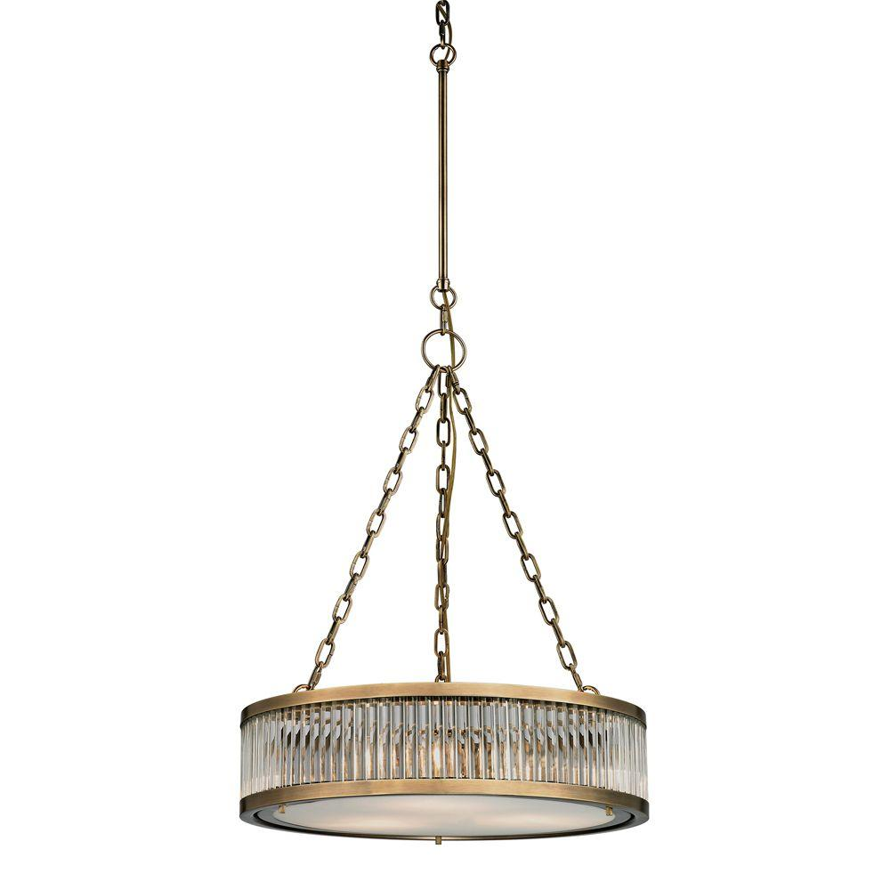 Munsey Park Collection 3-Light Aged Brass Pendant