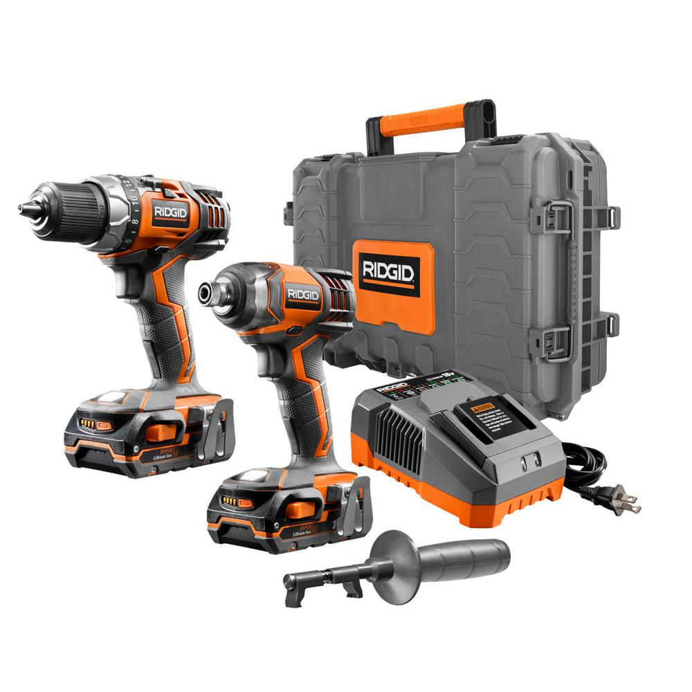 RIDGID 18-Volt Lithium-Ion Cordless 1/2 in. Drill/Driver & Impact Driver Combo Kit with (2) 1.5Ah Batteries Charger & Hard Case