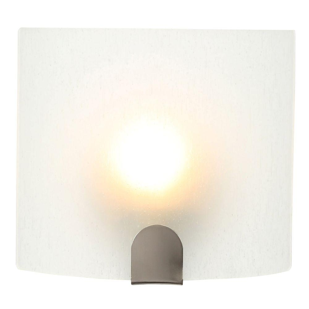 Hampton Bay 1 Light Brushed Nickel Sconce With Frosted Glass Shade