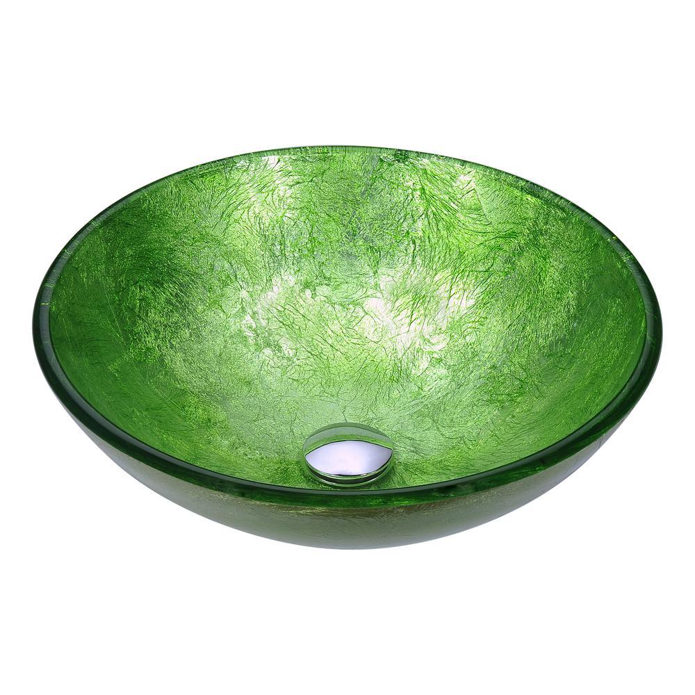 Anzzi Posh Series Deco Glass Vessel Sink In Golden Green Ls Az290