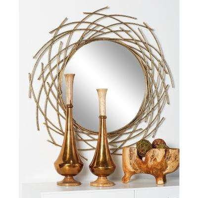 Round Gold Decorative Wall Mirror with Overlapping Arcs