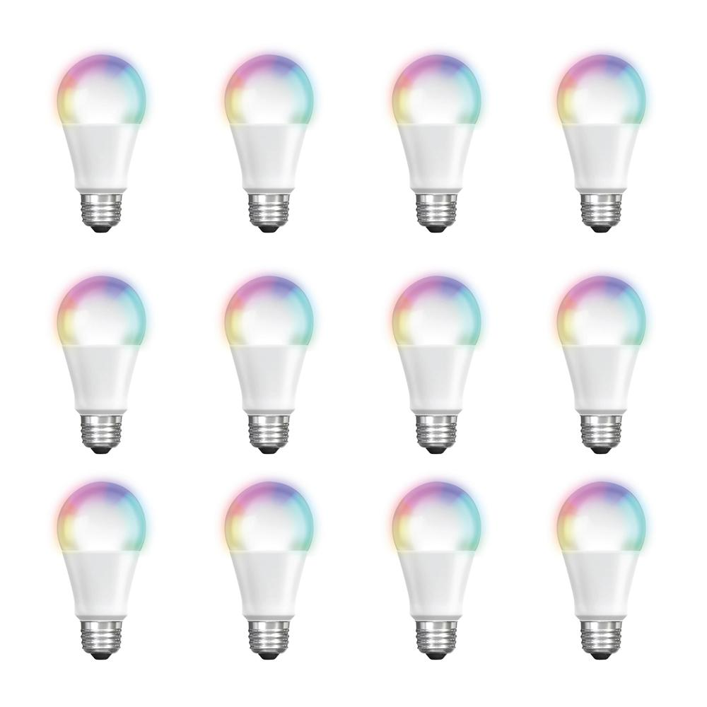 Feit Electric 60-Watt Equivalent A19 Dimmable Full Color Changing Bluetooth Apple HomeKit LED Smart Light Bulb (12-Pack)