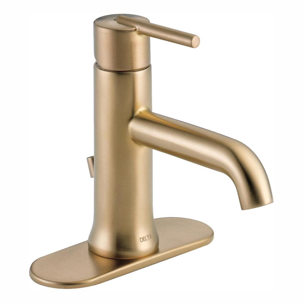Delta Trinsic Single Hole Single Handle Bathroom Faucet With Metal Drain Assembly In Champagne Bronze