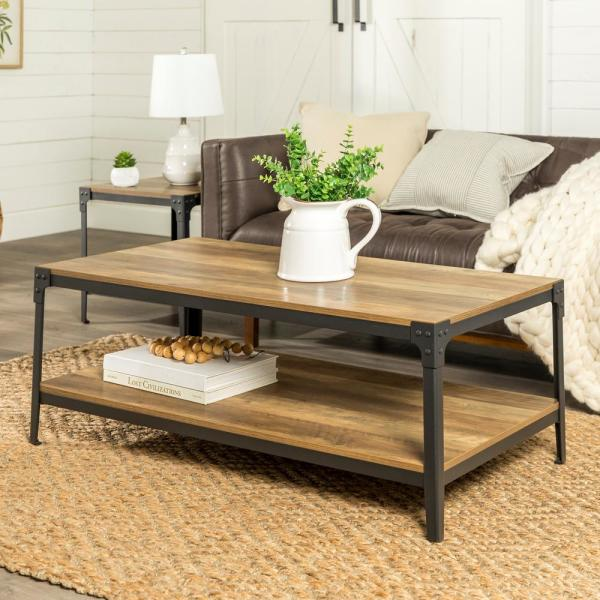 Angle Iron Rustic Wood Coffee Table Oak