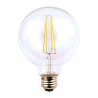 60W Equivalent Soft White Classic Glass G25 Dimmable Filament LED Light Bulb (3-Pack)