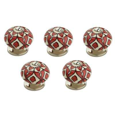 Blossom Fusion Red 1-3/5 in. (40 mm) White and Red Cabinet Knob (Pack of 5)