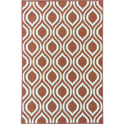 Rose Collection Contemporary Moroccan Trellis Design Orange 5 ft. x 7 ft. Non-Skid Area Rug