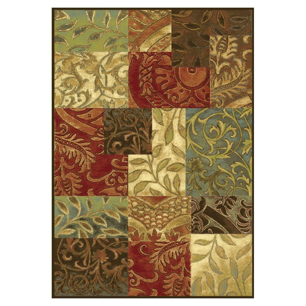 Artistic Patchwork Mocha 7 ft. 10 in. x 11 ft. 2