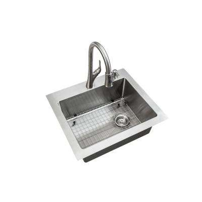 All-in-One Dual Mount Stainless Steel 25 in. 2-Hole Single Bowl Tight Radius Kitchen Sink in Brushed Finish with Faucet