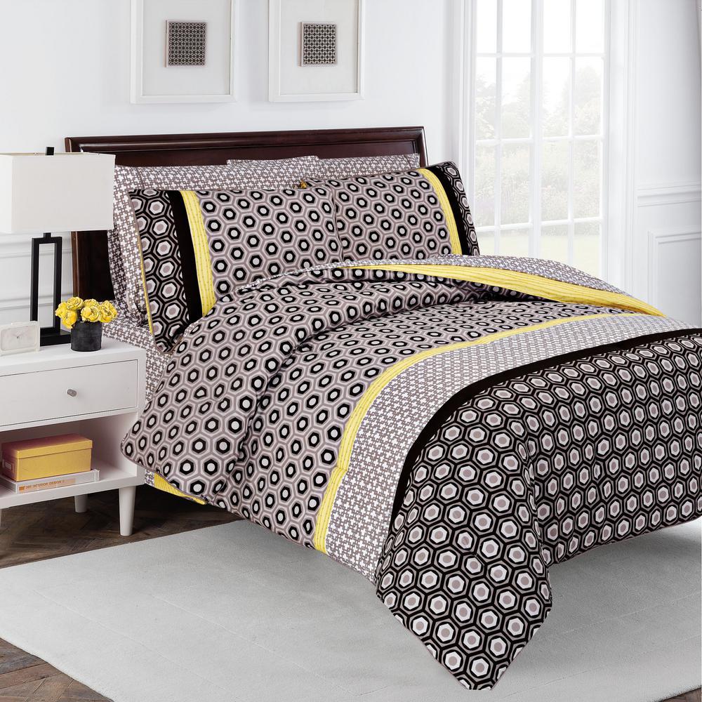 Hexagon 7-Piece Multi-Colored Queen Comforter Set