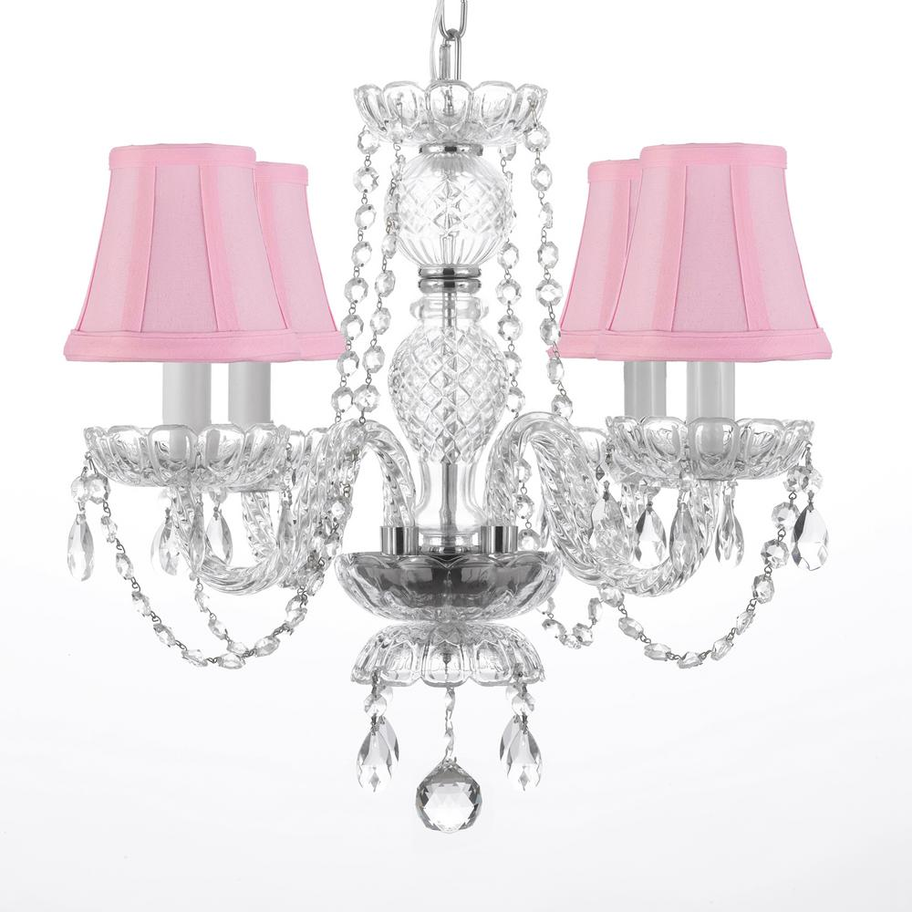 4 light venetian style empress crystal chandelier with pink shades 4 light venetian style empress crystal chandelier with pink shades aloadofball Image collections
