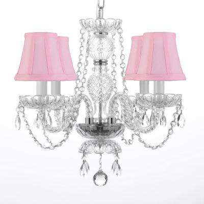 4-Light Venetian Style Empress Crystal Chandelier with Pink Shades