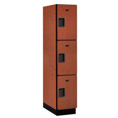 23000 Series Triple-Tier 24 in. D 3-Compartments Extra Wide Designer Particle Board Locker in Cherry