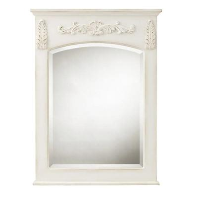 22 in. W x 32 in. H Framed Rectangular  Bathroom Vanity Mirror in antique white