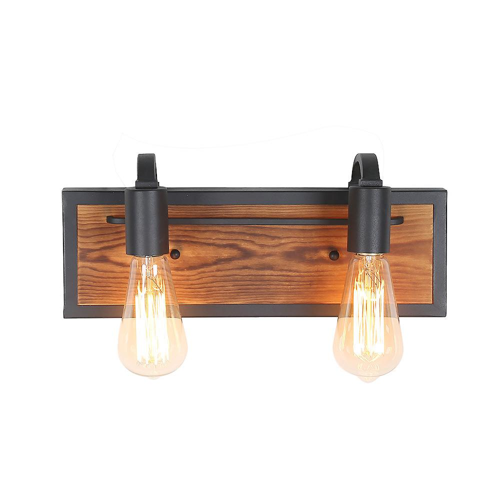 Lnc 2 light black wood bathroom sconce vanity light