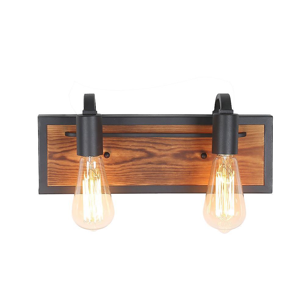 Vara 2-Light Walnut Wood Bathroom Sconce Vanity Light Black Bath Lighting