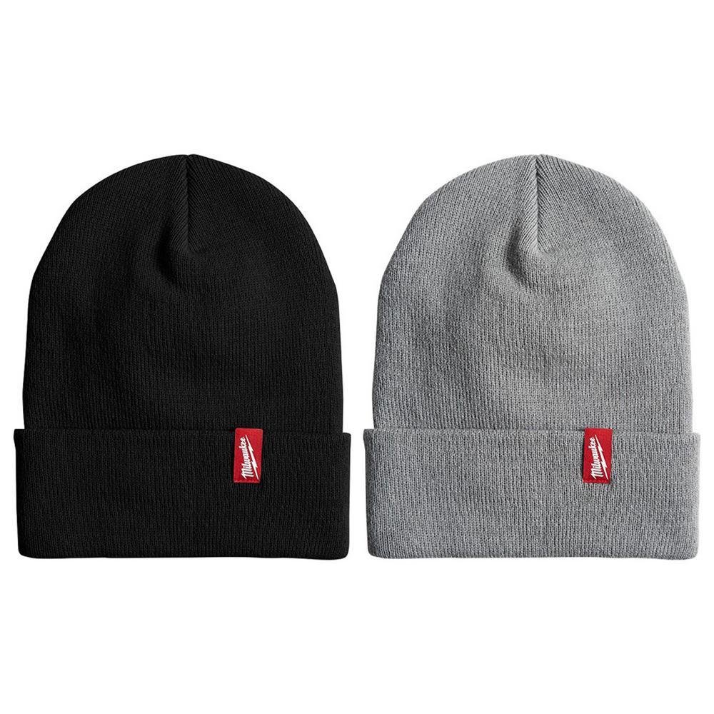Men's Black Acrylic Cuffed Beanie Hat with Gray Cuffed Beanie