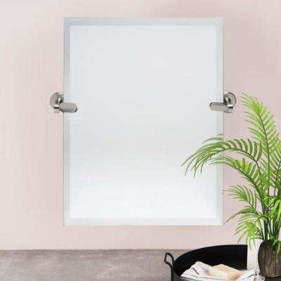 21 in. W x 24 in. H Pivoting Beveled Single Frameless Mirror with Brushed Nickel Hardware