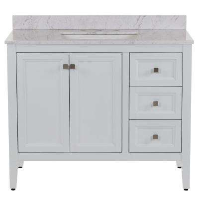 Darcy 43 in. W x 22 in. D Bath Vanity in White with Stone Effect Vanity Top in Lunar with White Sink