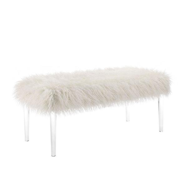 Luxurious 42 in. W Clear and White Faux Fur Upholstered Bench with Tapered Legs