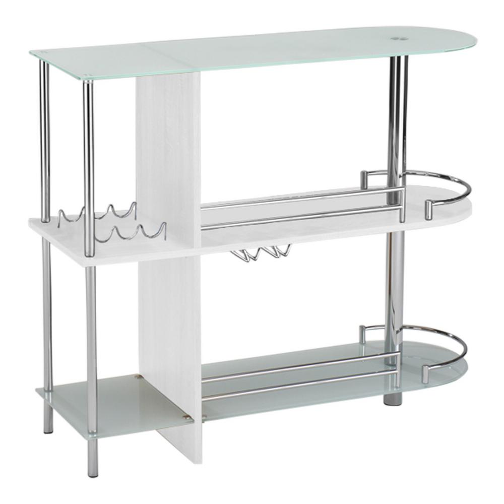 Kings Brand Furniture White Glass And Wood Bar Table With 3 Shelves