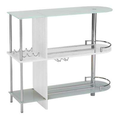White Glass and Wood Bar Table With 3-Shelves