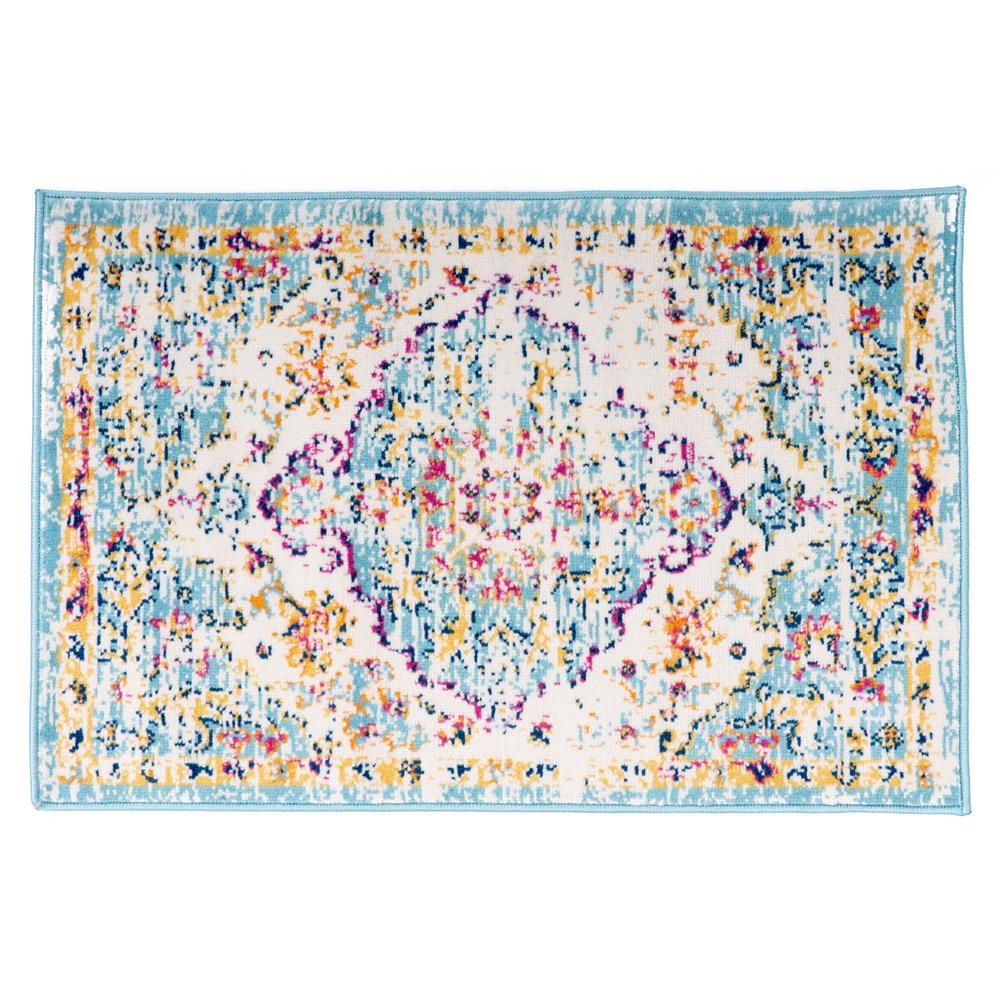 World Rug Gallery Vintage Traditional Bohemian 2 ft. x 3 ft. Blue Area Rug