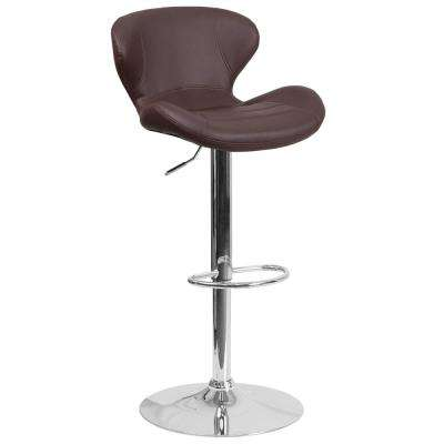 Adjustable Height Brown Vinyl Cushioned Bar Stool