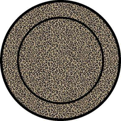 Jewel Leopard Beige 5 ft. 3 in. Round Area Rug