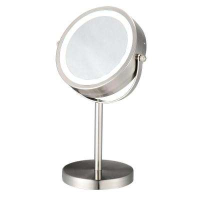 5.875 in. x 11.5 in. LED Lighted Bi-View Cosmetic Mirror in Satin Nickel