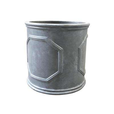 Large 15 in. x 15 in. x 15 in. Granite Lightweight Concrete British Frame Cylinder Planter