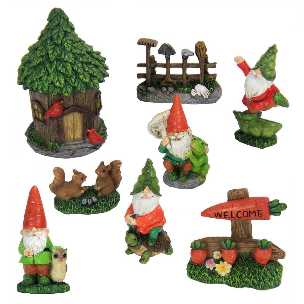 EXHART Miniature Veg Head Gnome Set (8 Piece)