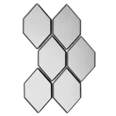 Echo Water jet Silver Honeycomb 9 in. x 12 in. x 6.35 mm Mirror Glass Mosaic Tile