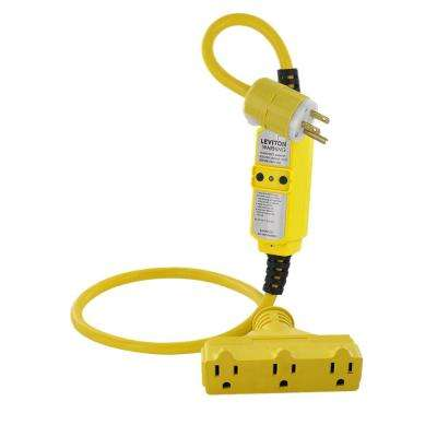 15 Amp Portable GFCI with 3 ft. Cord Set Black and White NEMA Plug (5-15P) and Triple-Tap Connector (5-15R), Yellow