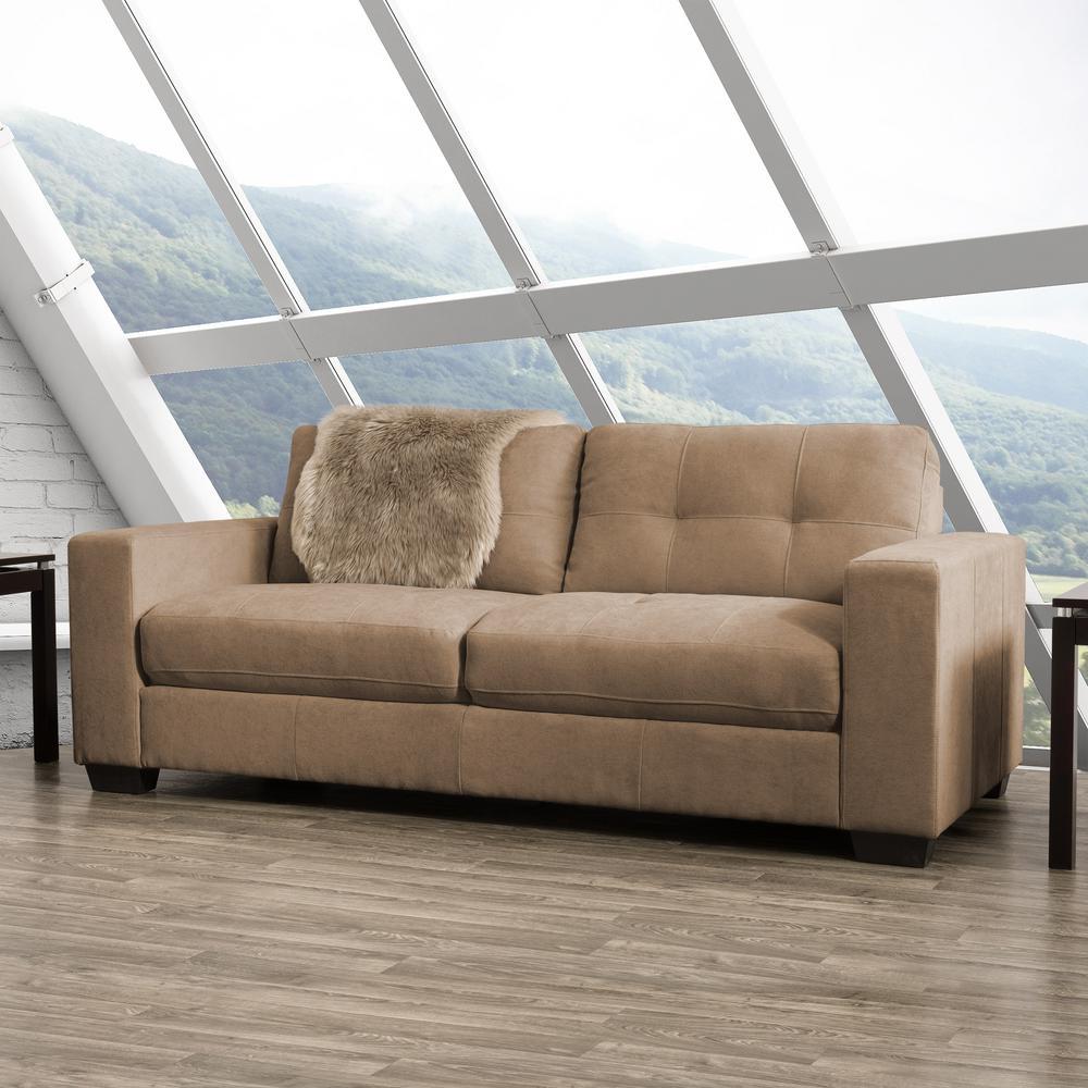 Club Tufted Brown Chenille Fabric Sofa