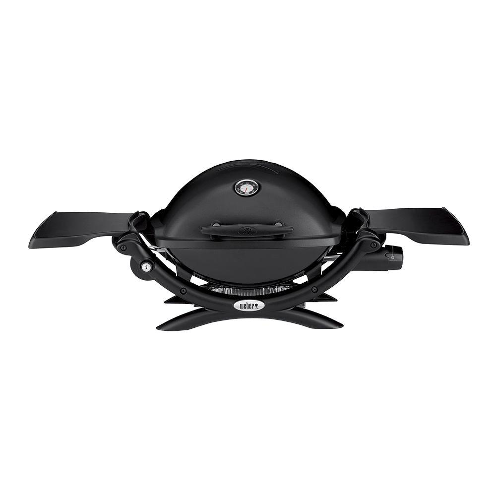 Weber Q 1200 1-Burner Portable Tabletop Propane Gas Grill in Black with Built-In Thermometer