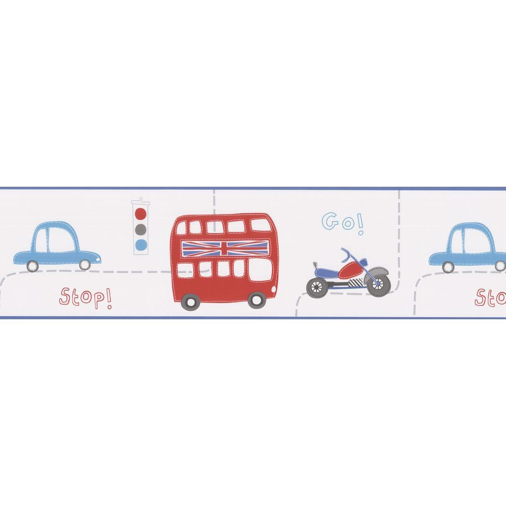 Kids World Moto London British Cars Wallpaper Border