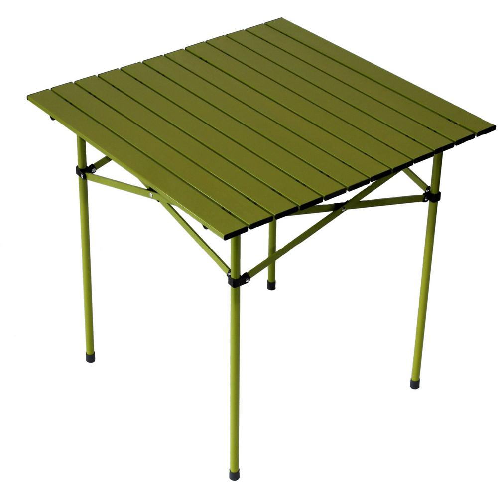 Green Aluminum Square Outdoor Portable Picnic Table with Bag