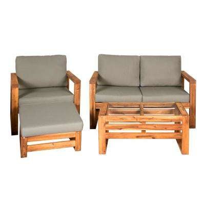 Brown 4 Piece Wood Conversational Patio Set With Gray Cushions