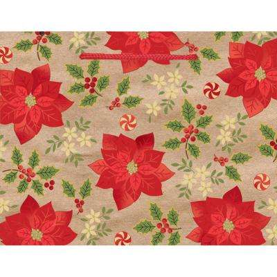 7 in. x 9 in. x 4 in. Poinsettia Hot Stamped Bags (18-Pack)