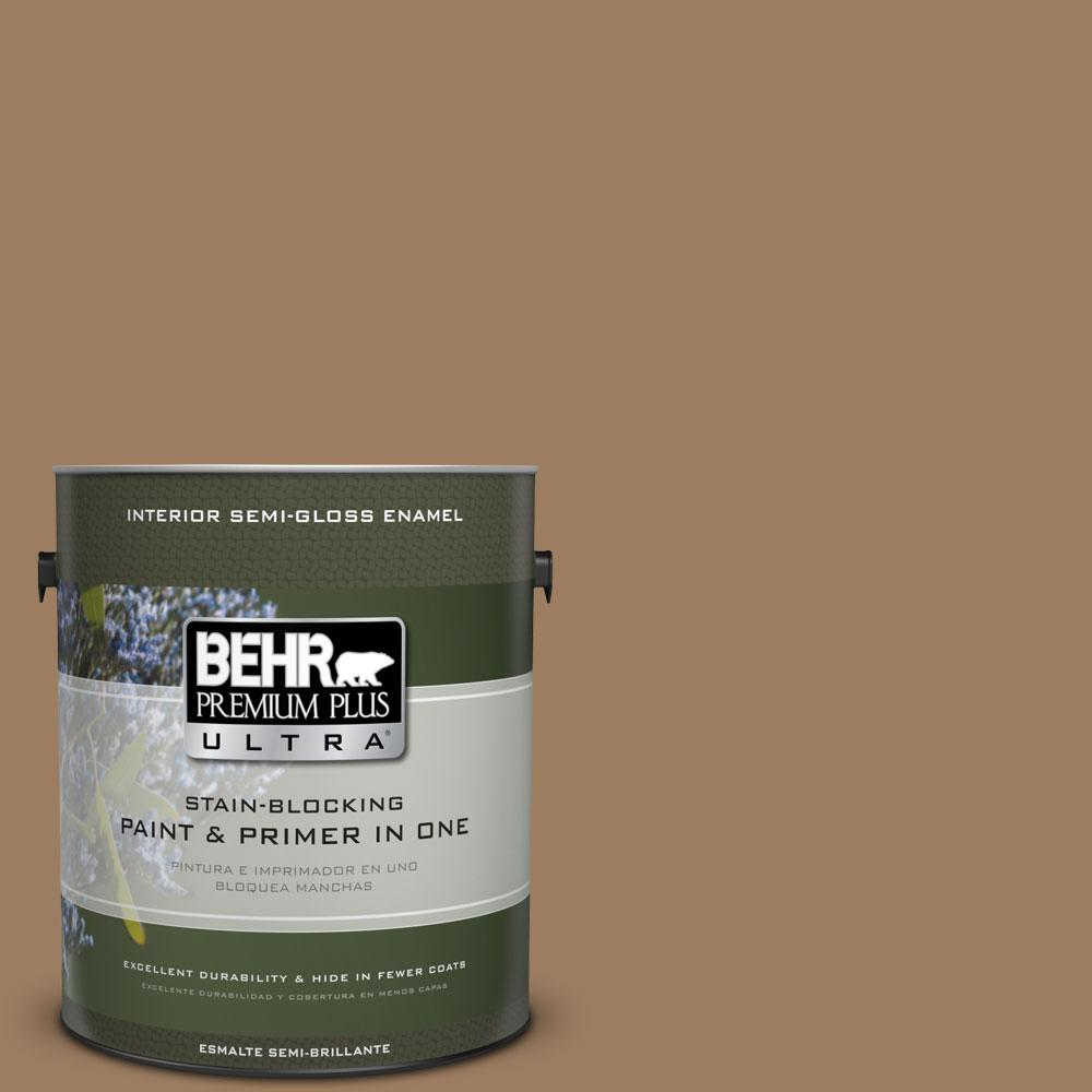 1-gal. #BXC-08 Safari Brown Semi-Gloss Enamel Interior Paint
