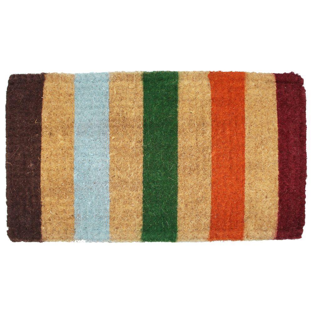 Imperial Stripe 18 in. x 30 in. Coir Door Mat
