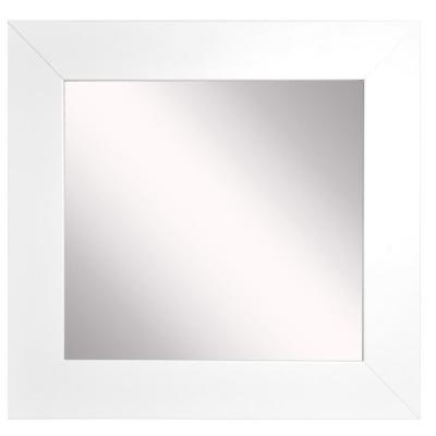 34 in. W x 34 in. H Framed Square Bathroom Vanity Mirror in White