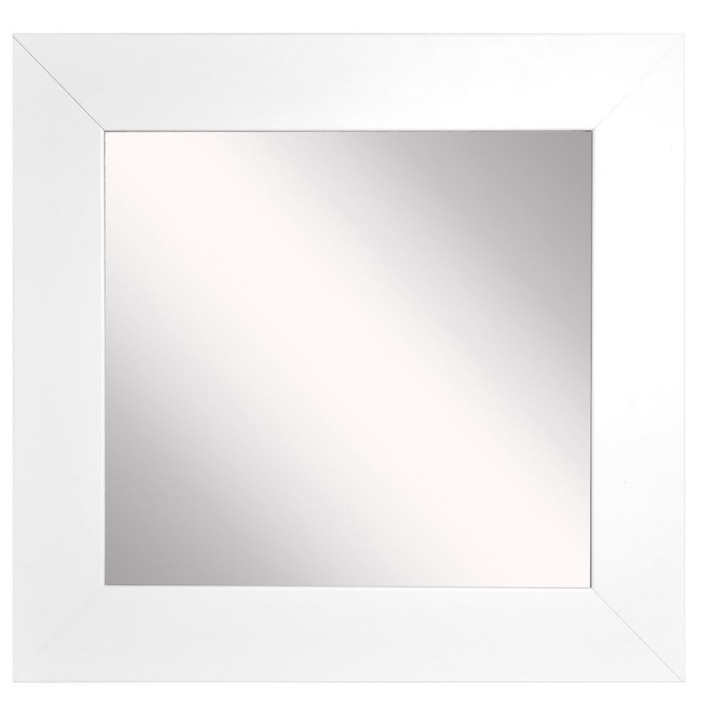 20 in. W x 20 in. H Framed Square Bathroom Vanity Mirror in White