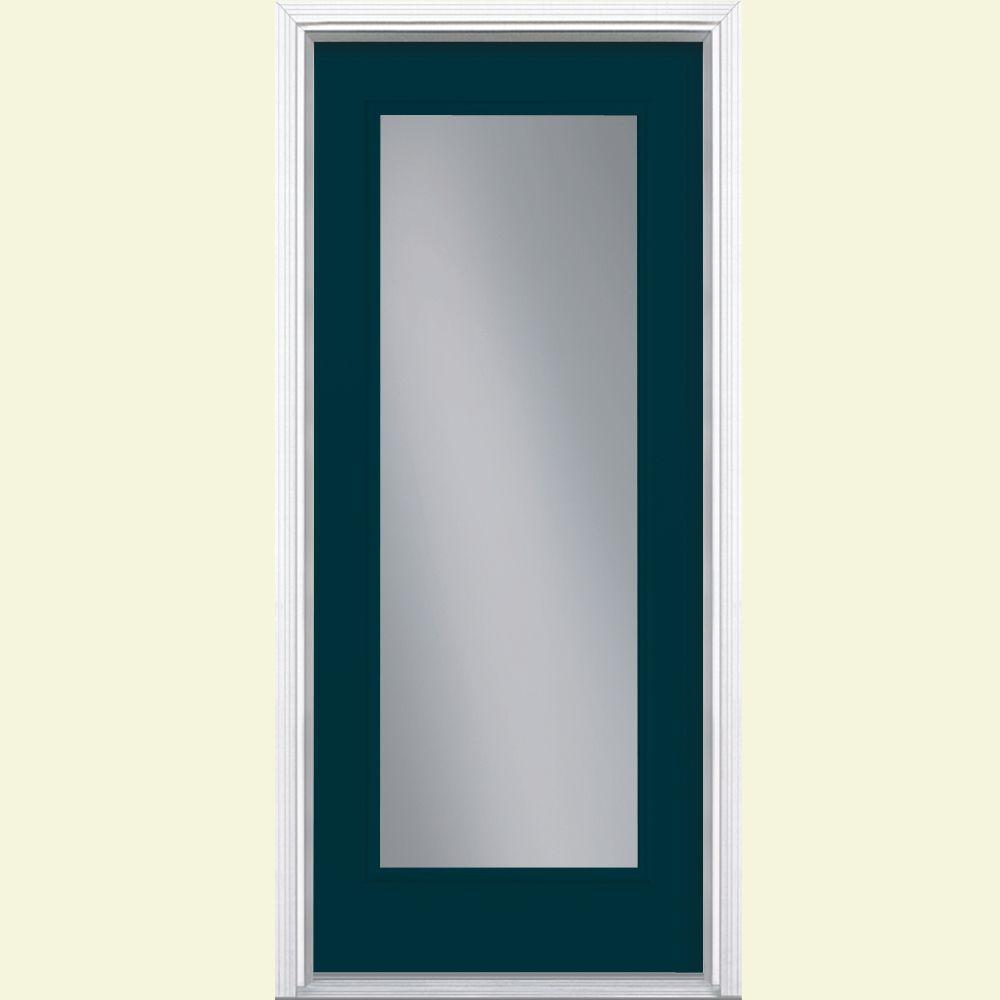 32 in. x 80 in. Full Lite Night Tide Left Hand Inswing Painted Smooth Fiberglass Prehung Front Door w/ Brickmold