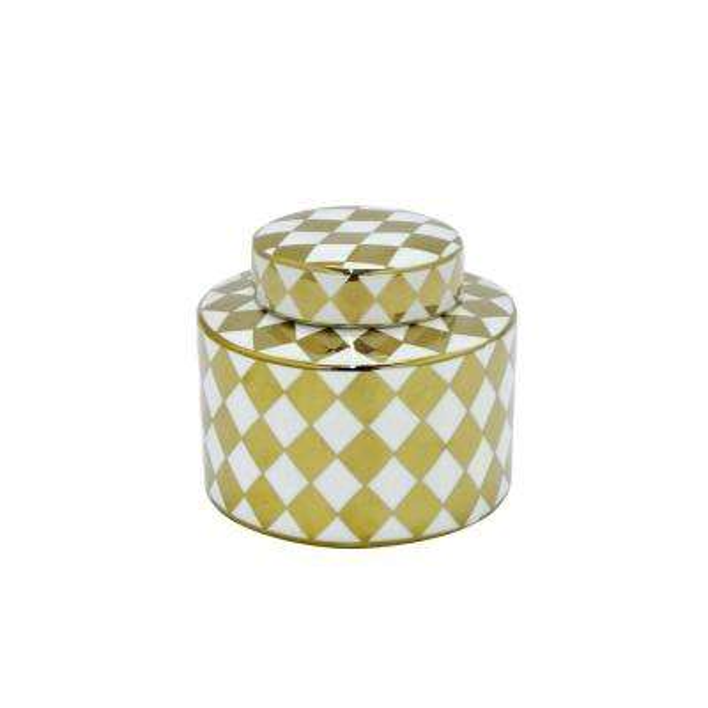 White and Gold Porcelain Jar