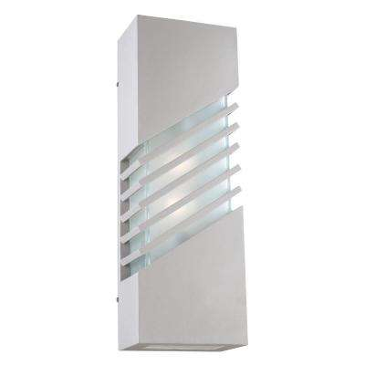 2-Light Outdoor Silver Wall Sconce with Frost Glass