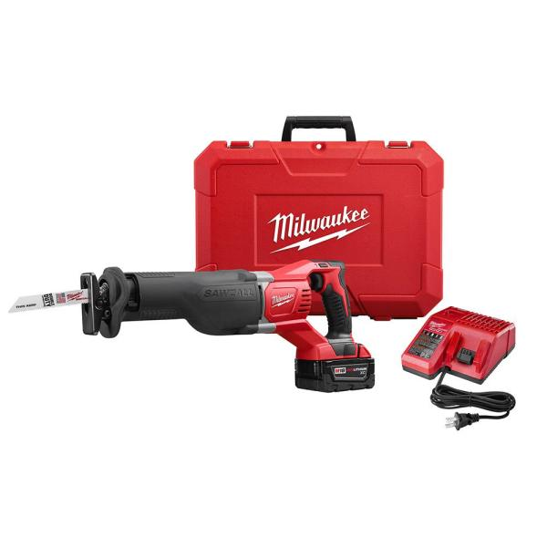 M18 18-Volt Lithium-Ion Cordless SAWZALL Reciprocating Saw W/(1) 3.0Ah Batteries, Charger, Hard Case