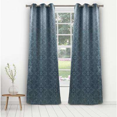Courtney 36 in. W x 96 in. L Polyester Window Panel in Teal
